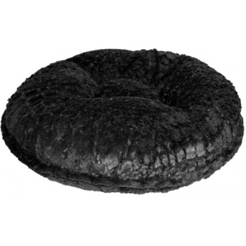Black Crocodile Mink Round Bed