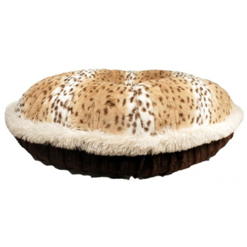 Leopard & Chocolate Mink with Cream Shag Welt Round Bed