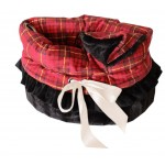 Red Plaid Reversible Snuggle Bugs Pet Bed, Bag, and Car Seat in One