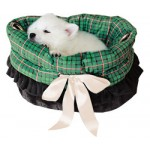 Green Plaid Reversible Snuggle Bug Pet Bed, Bag, and Car Seat in One