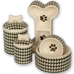Personalized Houndstooth Bowls & Treat Jars Collection