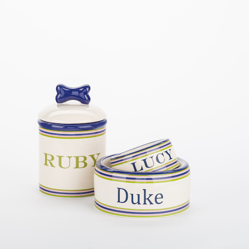 Personalized Preppy Stripe Bowls & Treat Jars Collection