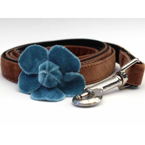 Camellia Velvet Dog Leash - Blue