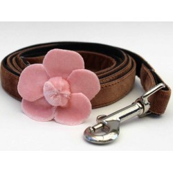Camellia Velvet Dog Leash - Pink
