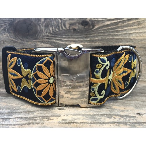 Mandala Star Tuscan Lemon Extra Wide Dog Collar
