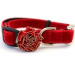 Mistletoe Holly Red Velvet Collar Rose Gold Metal Buckles