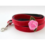 Rosebud Red Velvet Collar Rose Gold Metal Buckles