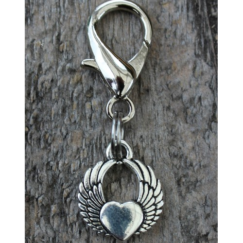 Winged Heart Dog Collar Charm