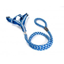 FabuLeash Dog Leash & A Step In Harness - Braided Lumi Set - Blue