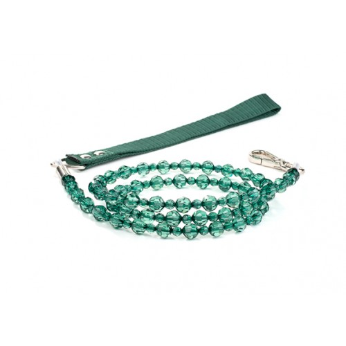 Fabuleash Beaded Dog Leash - Emerald Green